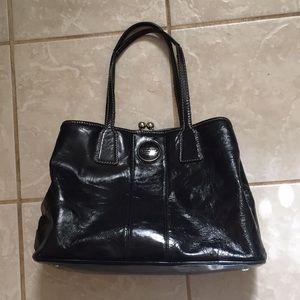 Patent leather black coach bag